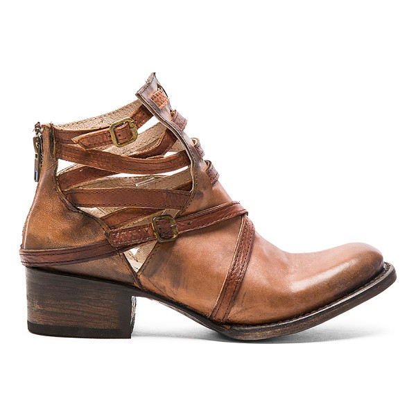 FREEBIRD BY STEVEN Stair - Leather upper and sole. Caged cut-out detail with buckle...
