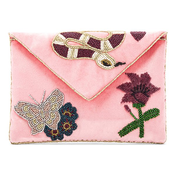 "FROM ST XAVIER Gabby Clutch - ""Velvet textile exterior with poly fabric lining. Flap top..."