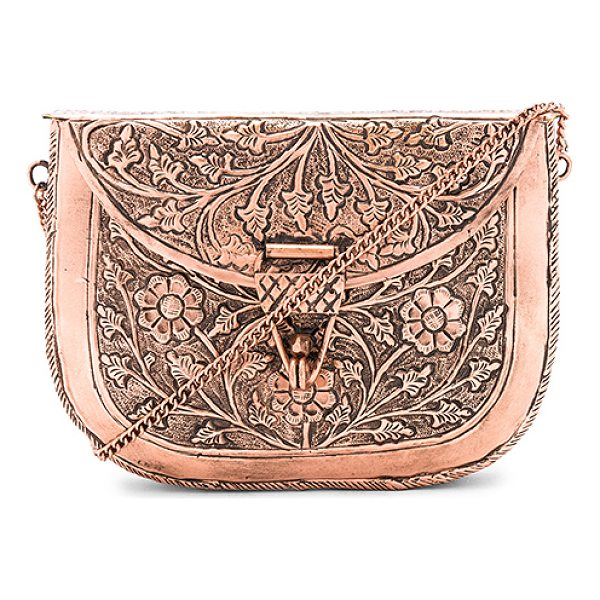 """FROM ST XAVIER x Revolve Riley Clutch - """"Brass metal exterior with velvet fabric lining. Flap top..."""