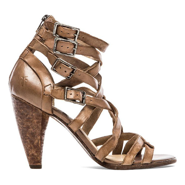 """FRYE Mika strappy heel - Leather upper with rubber sole. Heel measures approx 4"""""""" H...."""