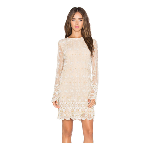 GANNI Long Sleeve Embellished Shift Dress - Nylon blend. Hand wash cold. Fully lined. Beaded...