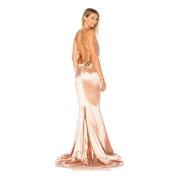 GEMELI POWER Satin Barthelemy Gown - Silk blend. Hand wash cold. Fully lined. Draped fabric back...