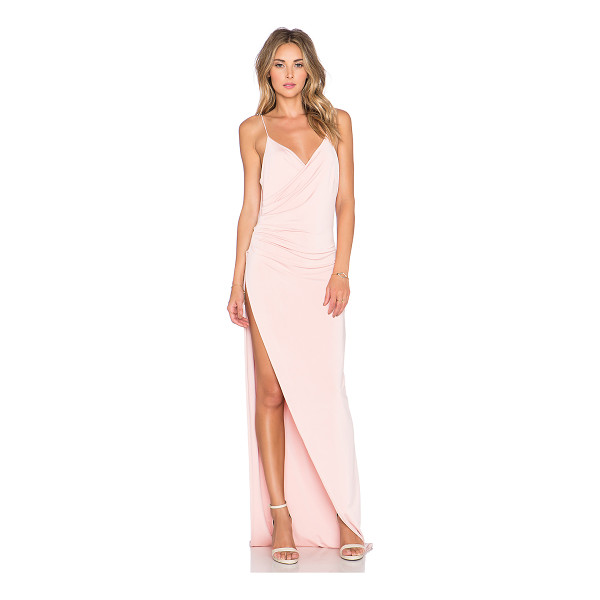 GEMELI POWER The Kotahi Gown - Poly blend. Hand wash cold. Fully lined. Pleated drape...