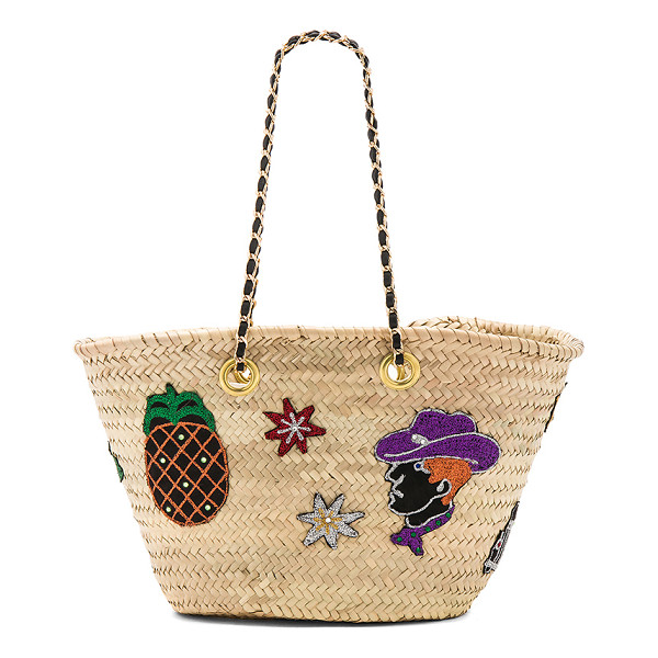 """GISELLE Ginevra Bag - """"Woven straw exterior and lining. Open top. Interior slit..."""