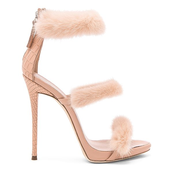 "GIUSEPPE ZANOTTI Coline Mink Fur Heel - ""Dyed mink fur, embossed leather, and patent leather upper..."