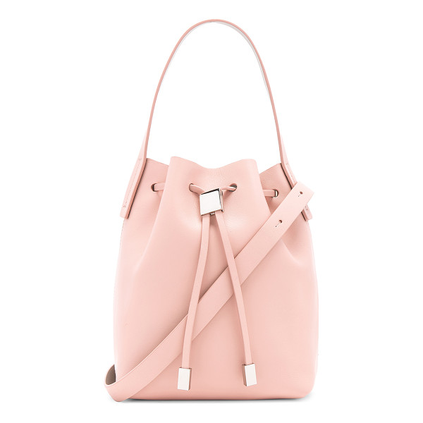 GVYN Yuri 2.0 Bucket Bag - Leather exterior with fabric lining. Drawstring top