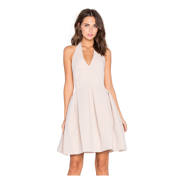 HALSTON Fit & flare halter dress - Self: 95% poly 5% spandexLining: 100% poly. Dry clean only....