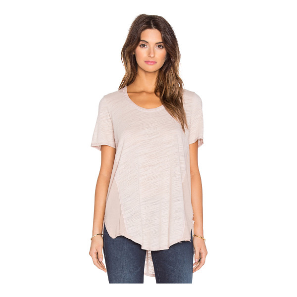 HEATHER Cotton & gauze scoop neck tee - Self: 50% poly, 37% rayon, 13% rayonContrast Fabric: 100%...