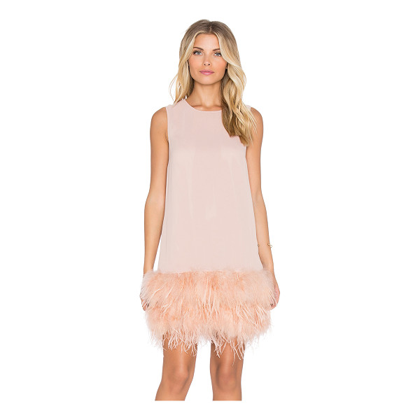 HOSS INTROPIA Feathered mini dress - 100% poly. Dry clean only. Fully lined. Feathered hem. Back...