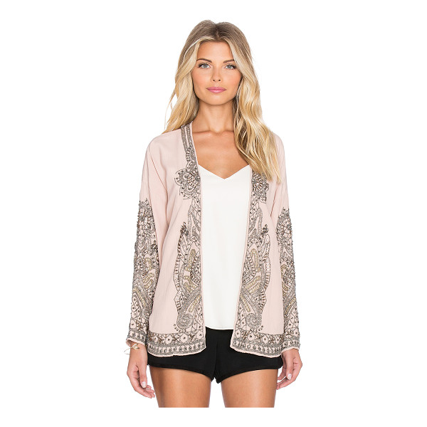 HOSS INTROPIA Floral swing blazer - 100% viscose. Dry clean only. Open front. Beaded detail....