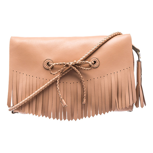 HOSS INTROPIA Fringe crossbody bag - Leather exterior with raw leather lining. Flap top with...