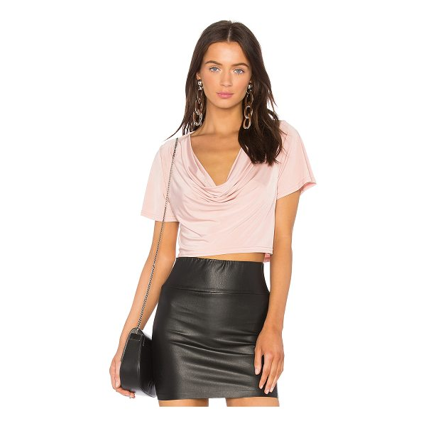 H:OURS x REVOLVE Elias Crop Tee - 94% poly 6% elastane. Dry clean only. Draped neckline....