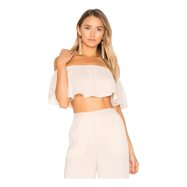 HOUSE OF HARLOW 1960 x REVOLVE Bree Crop Top - 100% poly. Hand wash. Elasticized neckline. Ruffled trim....