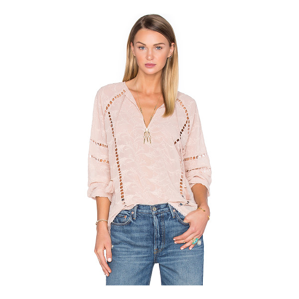 HOUSE OF HARLOW 1960 x REVOLVE Sophie V-Neck Blouse - 100% poly. Hand wash cold. Neckline keyhole with tie...