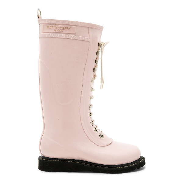ILSE JACOBSEN Long Rubber Boot - Rubber upper with oil-resistant rubber sole. Lace-up front.