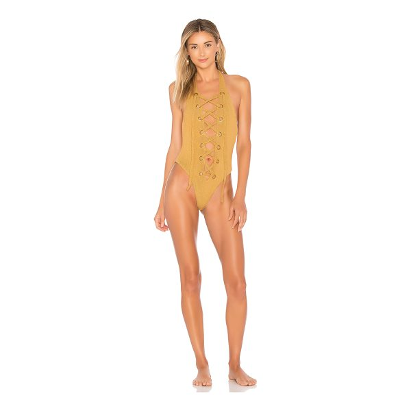 IN YOUR ARMS Lucid One Piece - 70% poly 30% spandex. Hand wash cold. Lace-up front. Gold...