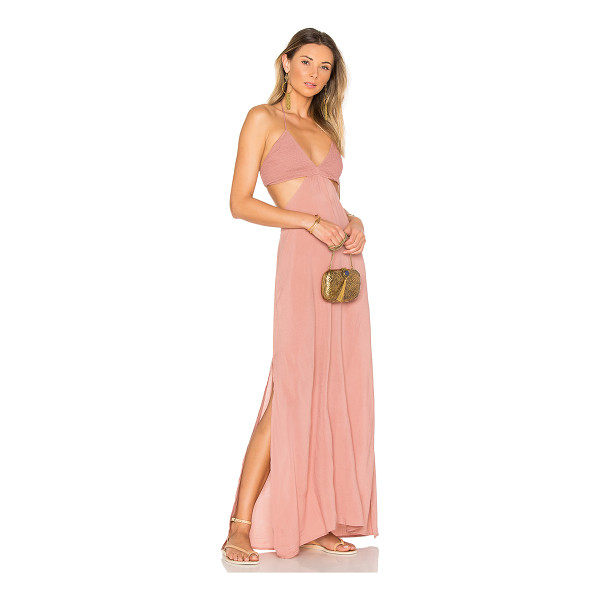 INDAH Blaze Cutaway Maxi Dress - 100% rayon. Hand wash cold. Unlined. Halter strap ties...