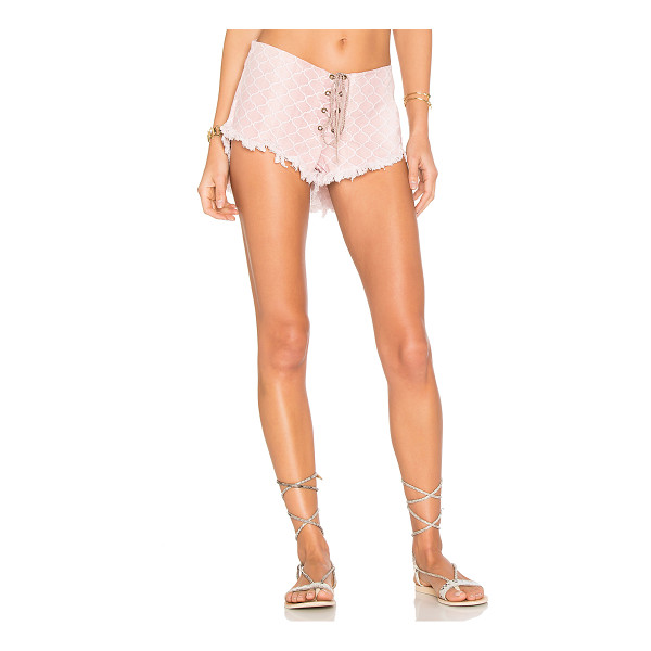 "INDAH Vibe Lace Up Short - ""100% cotton. Hand wash cold. Lace-up front with tie..."