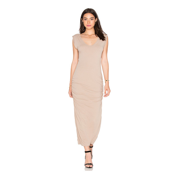 JAMES PERSE Twisted sleeve tube dress - 94% cotton 6% spandex. Unlined. Ruched sides. JAME-WD671....