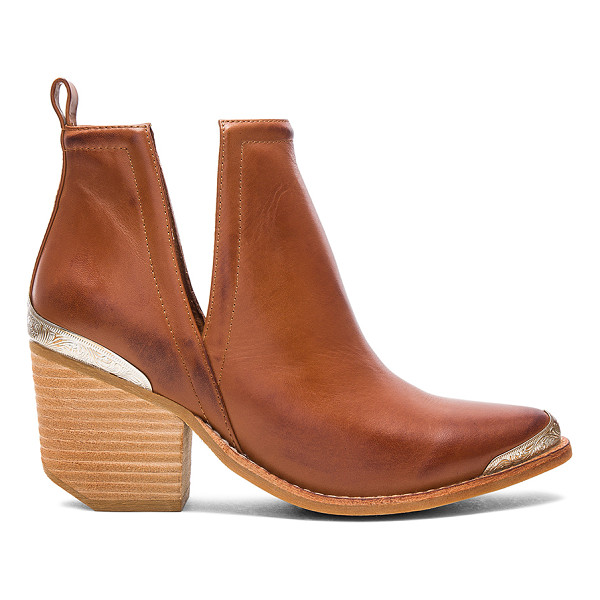 JEFFREY CAMPBELL Cromwell Booties - Leather upper with rubber sole. Pull on styling. Side seam...