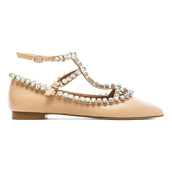 JEFFREY CAMPBELL Gaby embellished flat - Leather upper with man made sole. Rhinestone accent. Buckle...
