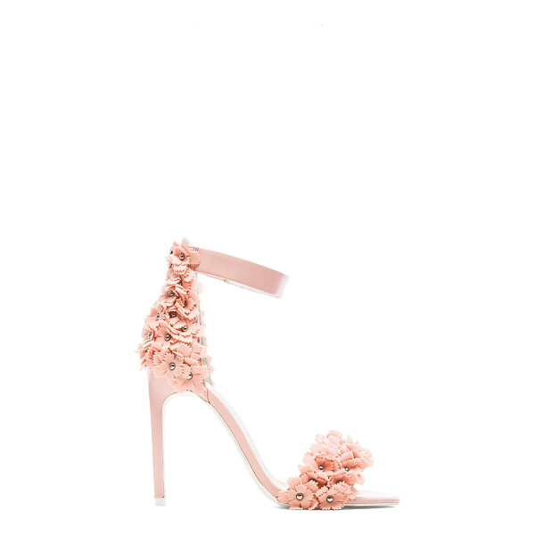 """JEFFREY CAMPBELL Meryl floral heel - Leather upper with man made sole. Heel measures approx 4""""""""..."""