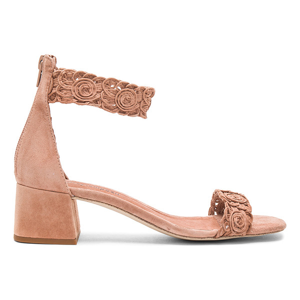 JEFFREY CAMPBELL Narya Sandal - Suede upper with man made sole. Back zip closure. Woven