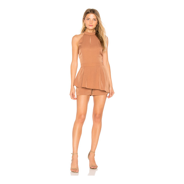 """J.O.A. Halter Neck Cut Out Romper - """"Self: 100% polyLining: 100% rayon. Hand wash cold. Front..."""