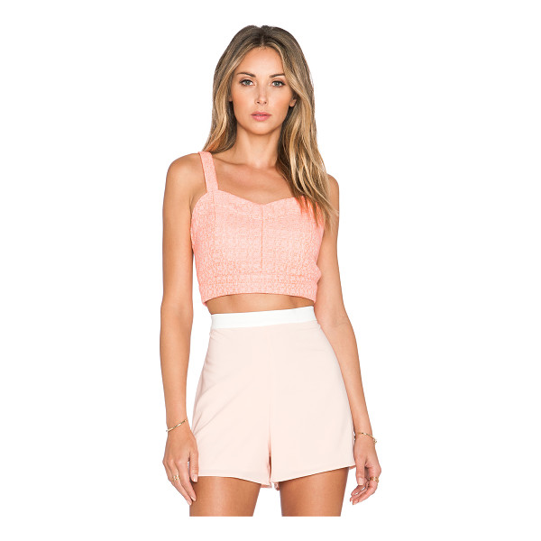 J.O.A. Jacquard bustier crop top - 100% poly. Dry clean only. Side cut-outs. Exposed back...