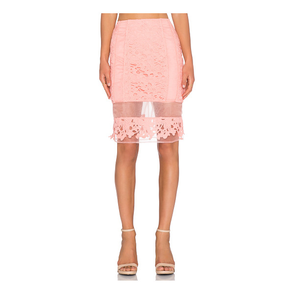 J.O.A. Lace pencil skirt - Self & Lining: 100% poly. Dry clean only. Skirt measures...