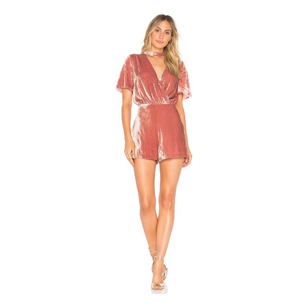 """J.O.A. Mock Neck Velvet Romper - """"Self: 65% rayon 35% polyLining: 100% poly. Dry clean only...."""