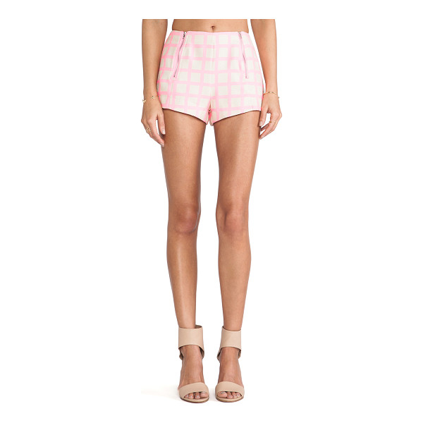 """J.O.A. Pink checked shorts - 100% poly. Shorts measure approx 10"""""""" in length. Dry clean..."""