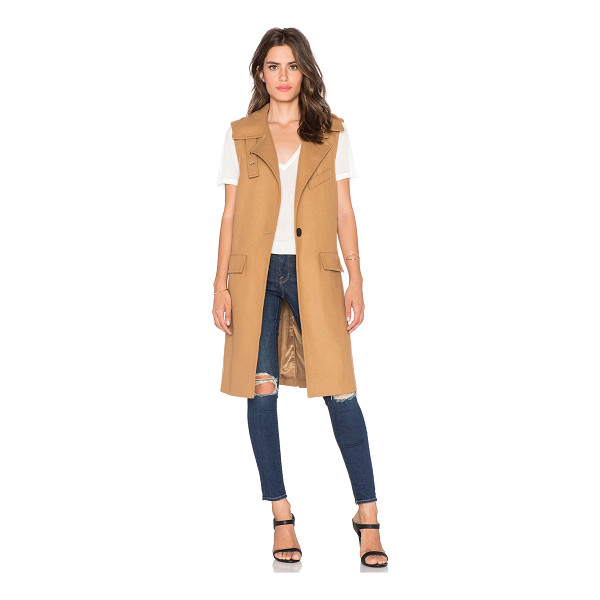 J.O.A. Sleeveless one button coat - Poly/wool blend. Dry clean only. Fully lined. Front single...