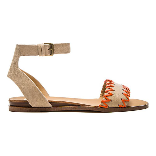 JOE'S JEANS Reba sandal - Leather upper with man made sole. Contrast color whip...