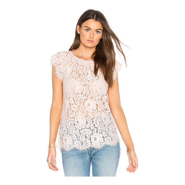 JOIE Channelle Top - 58% nylon 42% cotton. Dry clean only. Allover floral lace...