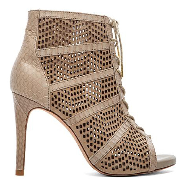 """JOIE Shari bootie - Leather upper and sole. Heel measures approx 4"""""""" H. Laser..."""