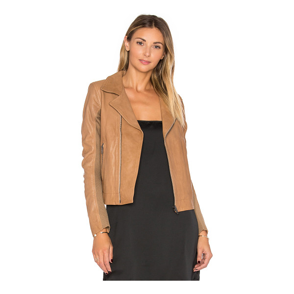 JUNE Fitted Leather Moto - Self: 100% genuine leatherLining: 100% polyPocket Lining:...