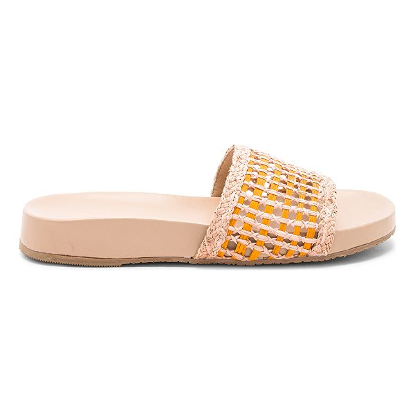KAANAS Akumal Woven Pool Slide - Woven straw upper with rubber sole. Slip-on styling....