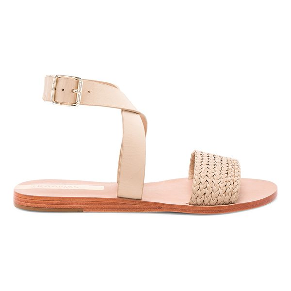 KAANAS Fortaleza Braided Sandal - Leather upper and sole. Wrap ankle with buckle closure....