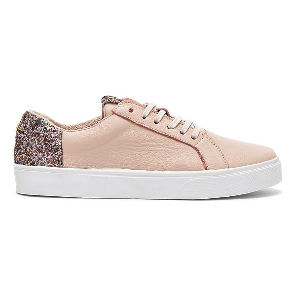 KAANAS San Rafael Sneaker With Contrast Heel - Leather upper with rubber sole. Lace-up front. Glittered...
