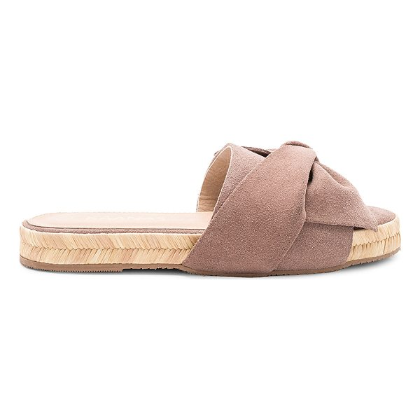 "KAANAS Say Ulita Bow Slide - ""Suede upper with rubber sole. Slip-on styling. Front bow..."