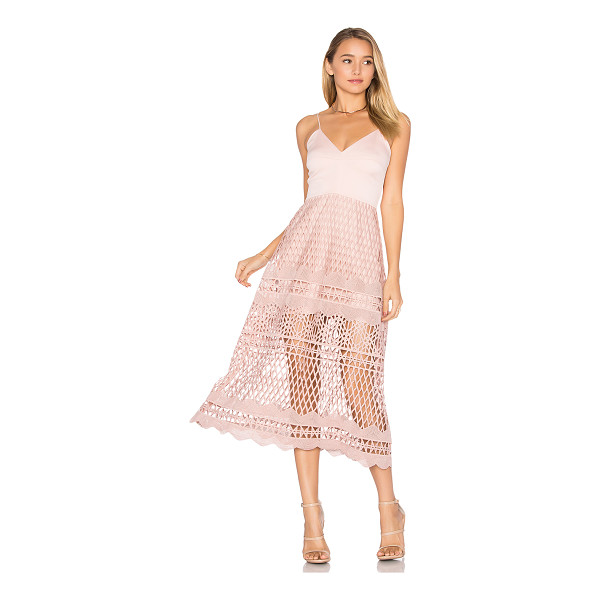KARINA GRIMALDI Alice Crochet Dress - Poly blend. Dry clean only. Partially lined. Adjustable...
