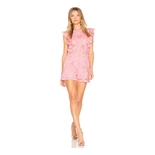 "KARINA GRIMALDI Avery Lace Romper - ""Poly blend. Hand wash cold. Ruffle sleeves. Allover lace..."