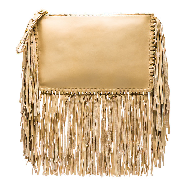 KARINA GRIMALDI Merino Fringe Clutch - Lamb leather exterior with canvas lining. Zip top closure...