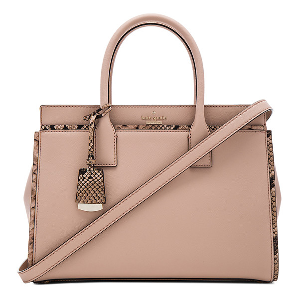 KATE SPADE NEW YORK Candace Satchel Bag - Leather and snake embossed leather exterior with jacquard...