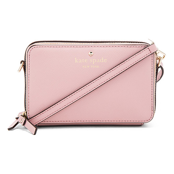 KATE SPADE NEW YORK Carine Crossbody - Leather exterior with jacquard fabric lining. Double zip...