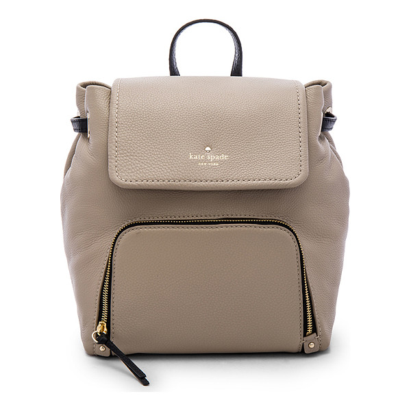 KATE SPADE NEW YORK Charley backpack - Cow leather exterior with poly lining. Flap top with button...