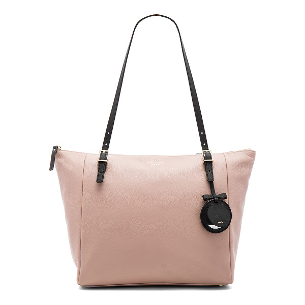 KATE SPADE NEW YORK Maya Tote - Leather exterior with jacquard fabric lining. Zip top...