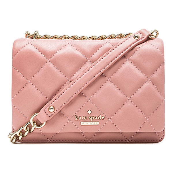 KATE SPADE NEW YORK Mini vivenna crossbody bag - Quilted leather exterior with jacquard fabric lining....