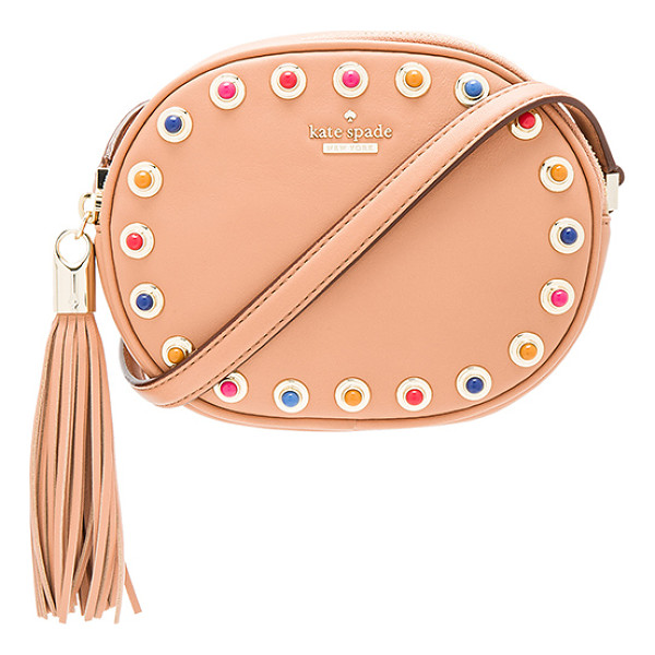 KATE SPADE NEW YORK Tinley Crossbody - Leather exterior with jacquard fabric lining. Fringed